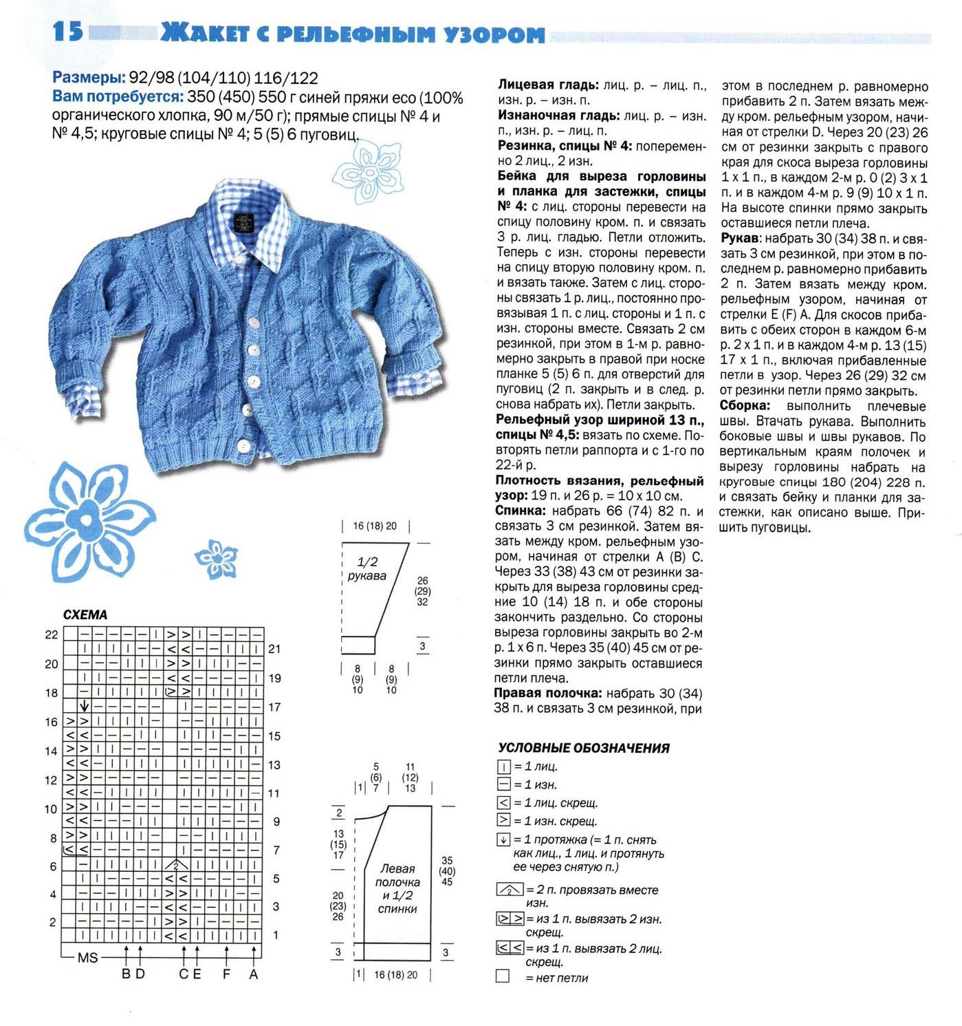 Схема вязания кофты спицами для мальчиков до года