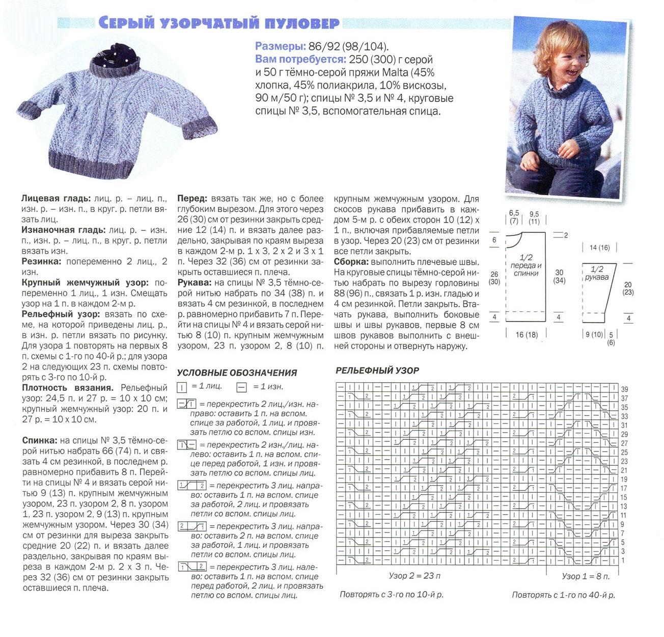 Вязание выкройка свитера для мальчика